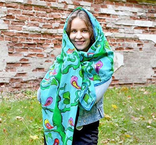 Bright Silk Scarf Birds Hand Painted Blue Green Shawl For Women One Of A Kind by AstaSilkWorld