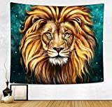 HAOCOO Starry Sky Pattern Wall Hanging Tapestry for Bedroom / Living Room / Dorm Accessories (51 x 60 Inch, Lion)