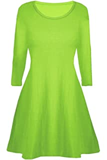 Girls Plain Viscose Skater Dress 3//4 Sleeve Top UK 7-16yrs