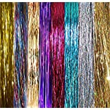 "40"" Hair Tinsel 600 Strands 8 Colors (Sparkling Silver, Purple, Rainbow, Hot Pink, Gold, Sparkling Gold, White Gold, Blue)"