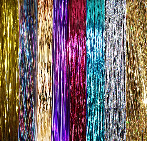 40 Hair Tinsel 600 Strands 8 Colors (Sparkling Silver, Purple, Rainbow, Hot Pink, Gold, Sparkling Gold, White Gold, Blue)
