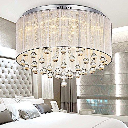 CIFFOSTCrystal Chandelier,Wedding Wire Drawing Crystal Lamp,Modern Fabric Led Drip Creative Romantic Ceiling Chandelier for Bedroom Restaurant Living Room Bathroom Corridor ()
