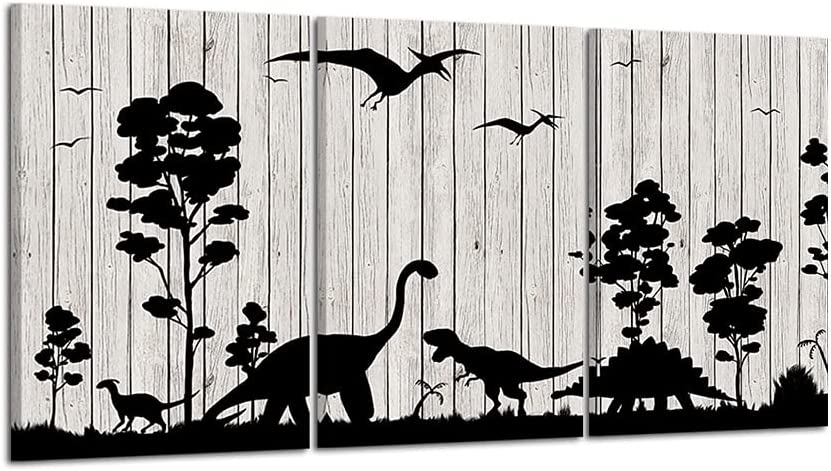 HOMEOART Canvas Prints Dinosaur Wall Picture Animal Painting With Wood Texture Framed Artwork Kids Children Bedroom Wall Decor 16