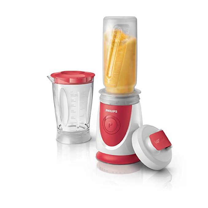 Philips Daily HR2872/00 - Batidora Americana de Vaso, 350 W, Jarra 0.6 L, Plástico Ultra Resistente, Vaso On the go, Color Rojo