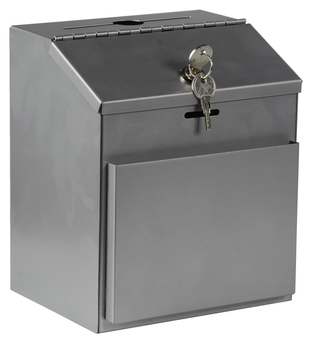 Displays2go Ballot Box with Locking Hinged Lid and Side Pocket for Forms (Not Included), Metal Suggestion Box for Tabletop or Wall Mount Use, Silver (STBOXSLV) by Displays2go