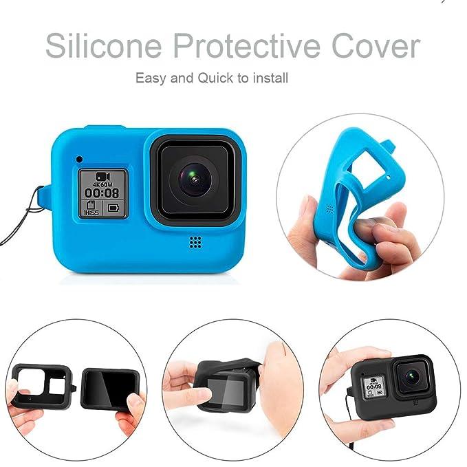 Protector Funda Para GOPRO Hero 8 cámara suave silicona cubierta de transporte con cuerda