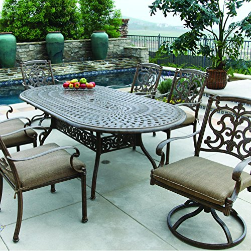 Darlee Santa Barbara 7 Piece Cast Aluminum Patio Dining Set With Oval Table - Antique Bronze