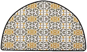 Corridor Rug Colorful Turkish Pattern,Tiles of Kaleidoscopic Spiral Geometry with Scroll Details, Taupe Pale Coffee White,W47 x L31 Half Round Camping Rugs for Outside