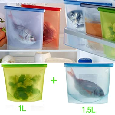 Reusable Silicone Food Bag, Reusable Sandwich Bags silicone bags Keep Your Food Fresh Bag for Cooking, Sous Vide, Liquid, Fruit,Lunch, Snack, Sandwich, Freezer(50+30 OZ)