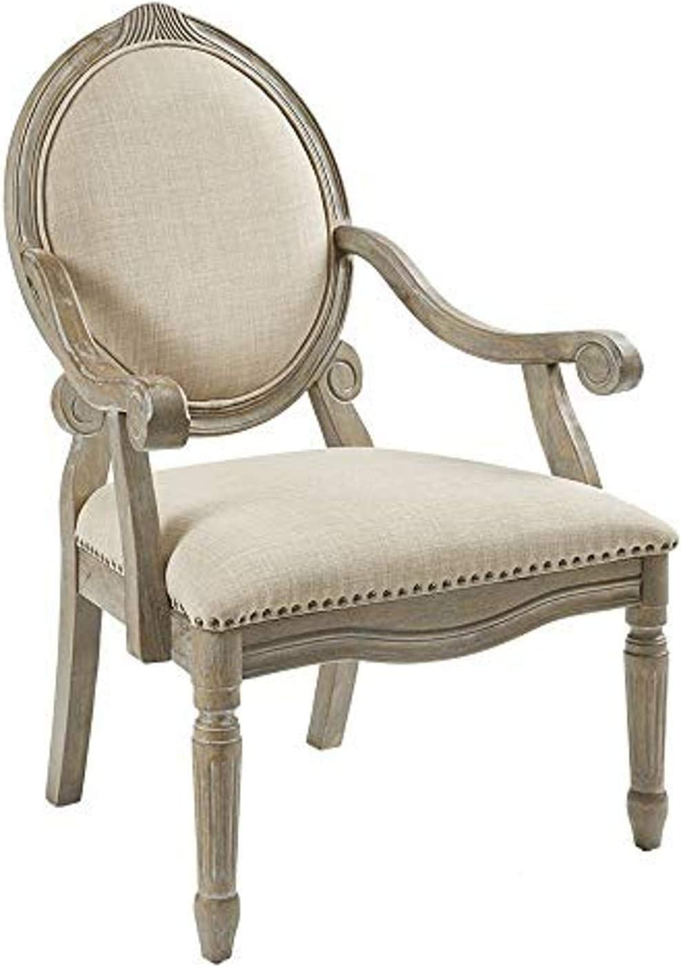 Madison Park Brentwood Accent Chairs-Birch Hardwood, Hand Carved Scroll Design Living Armchair Modern Classic Style Family Room Sofa Furniture Bedroom Lounge, Medium, Beige