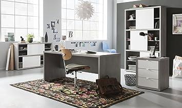 Bureau et étude complet à composer couleur béton et laqué blanc