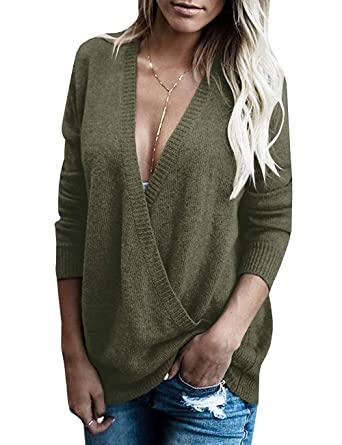 90ef9cf2032 softome Womens Knitted Deep V-Neck Long Sleeve Wrap Front Loose Sweater  Pullover Jumper Tops
