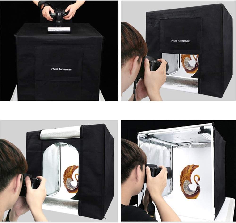 FeliciaJuan-Home 60cm Small Studio Photo Fill Light Soft Light Box Set Large Led Photography Light Box Background Cloth Simple Mini Still Shooting Table Props Color : Black, Size : 60x60x60cm