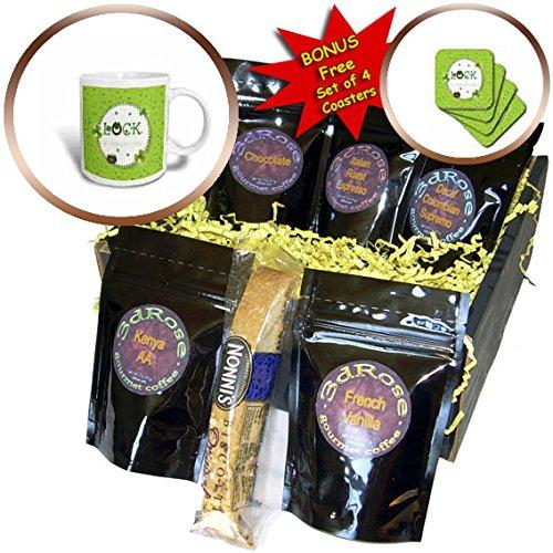 3dRose Beverly Turner St Patrick Day Design - St Patrick Day, Luck, Horseshoe, Shamrock, Pot of Gold, Round Frame - Coffee Gift Baskets - Coffee Gift Basket (cgb_282058_1) (Gold Round Horseshoes)