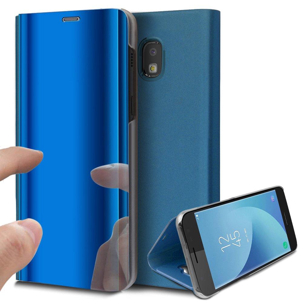 Galaxy J7 Pro Case,Galaxy J7 Pro Mirror Case,ikasus Ultra-Slim Luxury Plating Mirror Makeup Case Cover PU Leather Flip Stand Kickstand Protective Case Cover for Galaxy J730 J7 Pro (2017),Blue by ikasus (Image #1)