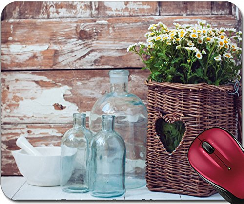 Liili Mousepad Flowers in a wicker basket vintage glass bottles and a mortar on wooden background cozy home rustic decor cottage living 291145 ()