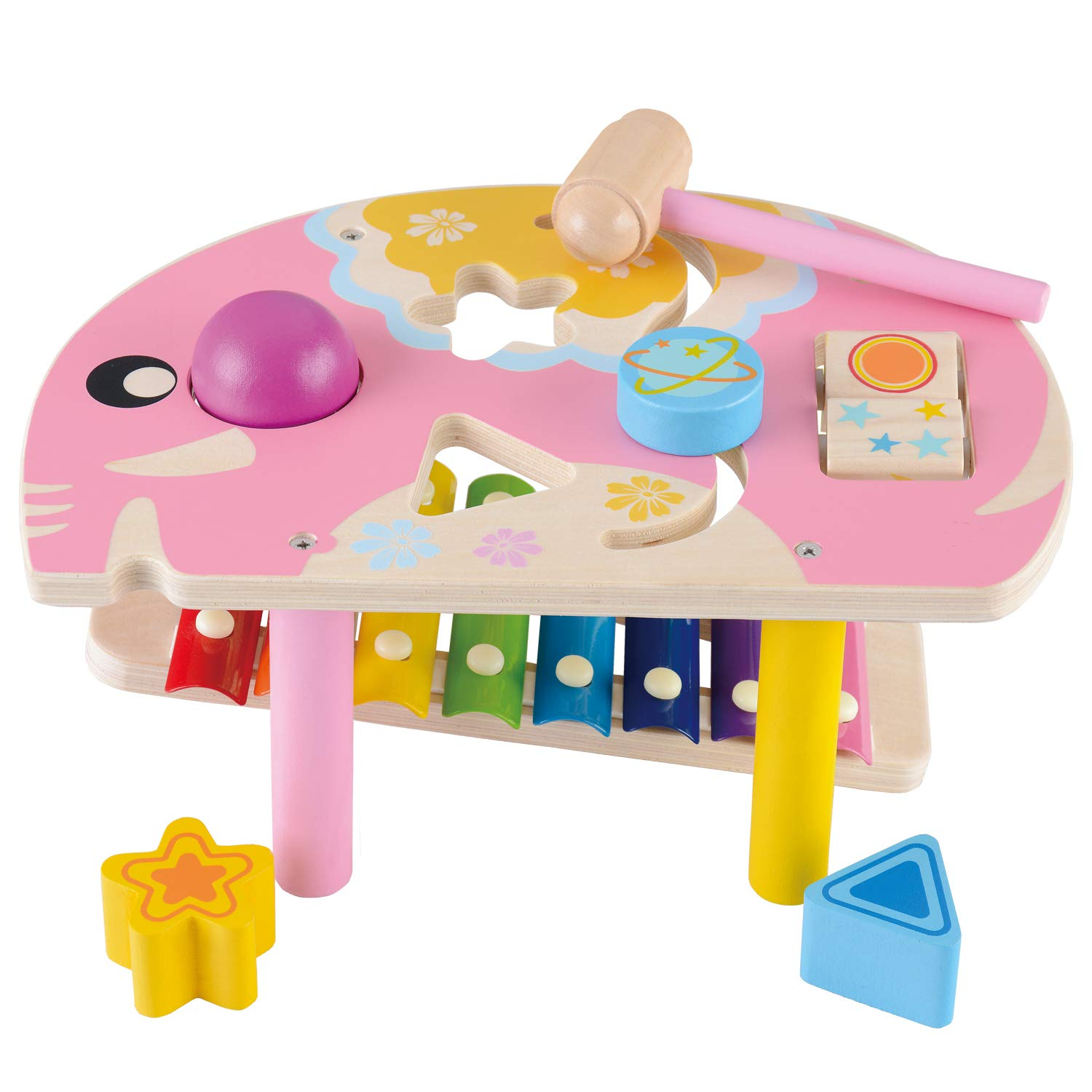 WOOKA Wooden Educational Toys Pound and Tap Bench with Slide Out Xylophone for 1 Year Old and up, Elephant Shape