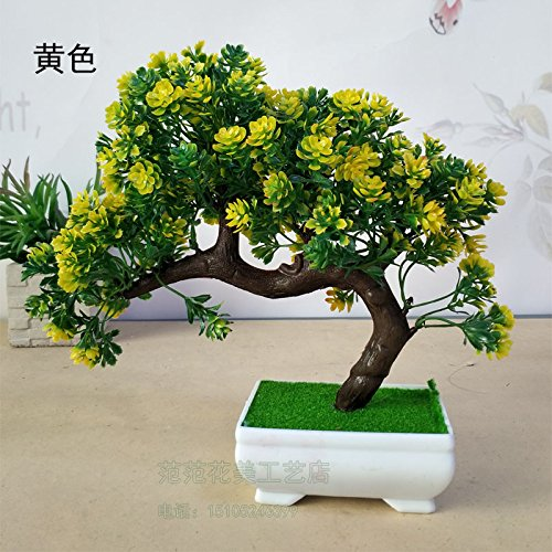 LANJIE Welcome The Pine Bonsai Bonsai Simulation Room Decoration Home Furnishing Desktop Small Ornaments Fake Plant Grass Bonsai Trees A Welcoming Pine (Welcome Hydrangea)
