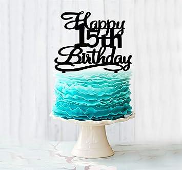 Remarkable Happy 15Th Birthday Cake Topper Black Acrylic Cake Topper Number Funny Birthday Cards Online Elaedamsfinfo