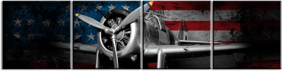 Propeller Wall Decor Airplane Canvas Prints Wall Art Vintage Tone US American Flag Set of 4 Pieces Picture Black and White World War ? Aircraft Fighter Bomber Head Framed Home Decorations 12x12 Inch