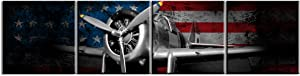 Propeller Wall Decor Airplane Canvas Prints Wall Art Vintage Tone US American Flag Set of 4 Pieces Picture Black and White World War Ⅱ Aircraft Fighter Bomber Head Framed Home Decorations 12x12 Inch