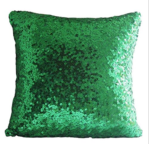 ShinyBeauty Green-Sequin Pillow Case-18x18-Inch,Sequin Pillow Cushion Cover Glitter Sequins Throw Pillow Cases For Christmas/Halloween Party Decoration ()