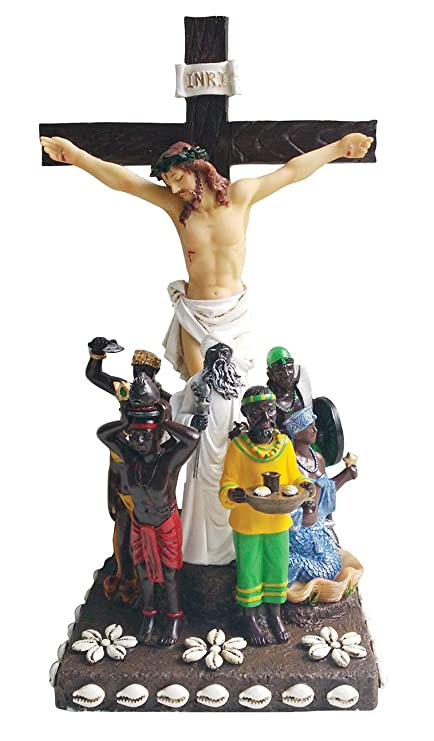 12 Inch 7 African Powers Statue with Cross Seven African