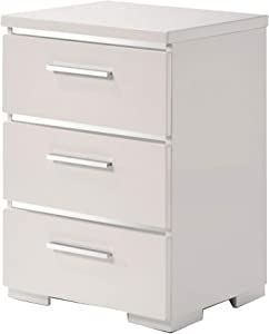 Benjara Three Drawers Wooden Nightstand with Metal Handles, White and Silver
