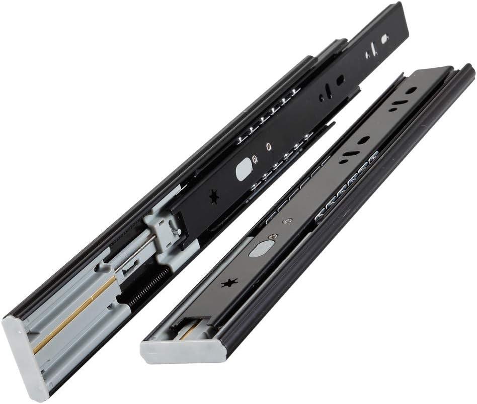 capacit/é de charge de 45 kg Alisheng Lot de 1 paires de glissi/ères de tiroir /à roulement /à billes 350 mm avec fermeture douce /à 3 plis /à extension compl/ète montage lat/éral m/étal noir noir