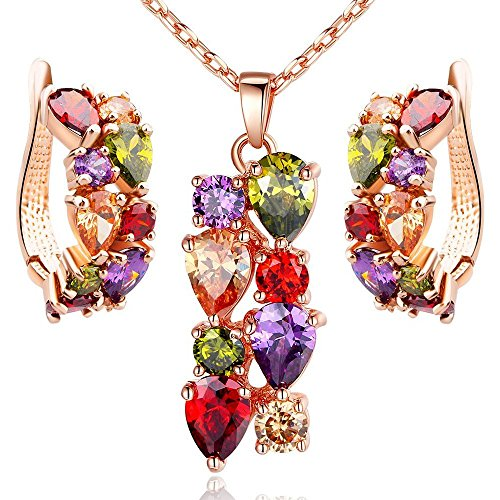 18k Set Necklace (Morenitor[TM]Jewelry Set 18K Gold Plated CZ Cubic Zirconia Multi Color Flower Pendant Necklace Stud Earring Matching)