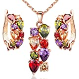Morenitor[TM]Jewelry Set 18K Gold Plated CZ Cubic Zirconia Multi Color Flower Pendant Necklace Stud Earring Matching Set.