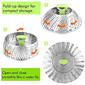 Steamer Basket Stainless Steel Vegetable Steamer Basket Folding Steamer Insert for Veggie Fish Seafood Cooking, Expandable to Fit Various Size Pot (5.1″ to 9″)