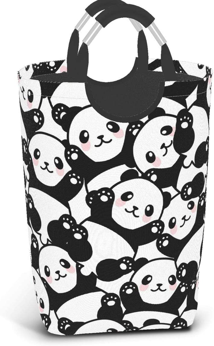 Affany Cute Panda Laundry Basket with Handles for Bedrooms Collapsible Waterproof Storage Basket Nursery Box for Kids Room,Toy Organizer,Home Decor,Baby Hamper