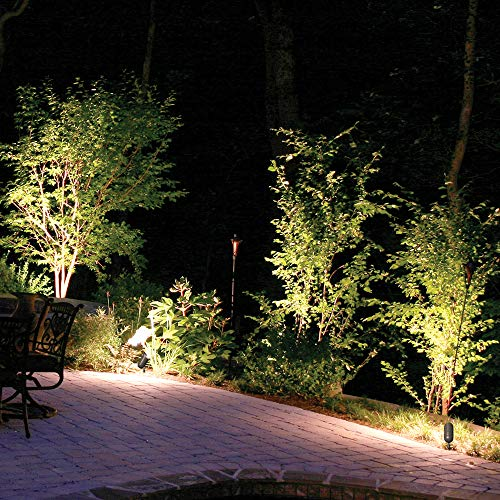 Lumina Low Voltage Landscape Lights Cast-Aluminum Waterproof Outdoor Spotlights for Walls Trees Flags Decorative Light W/Warm White 5W LED Bulb and ABS Ground Stake SFL0106-BZLED4 (4PK) by Lumina Lighting (Image #3)