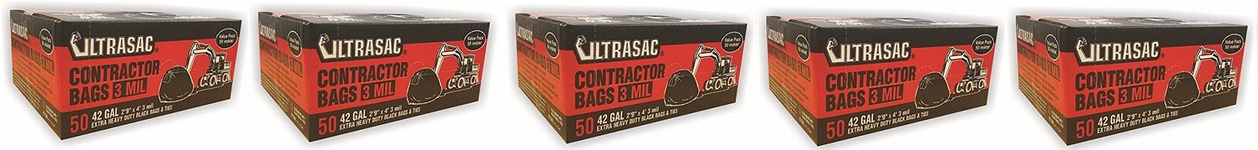 UltraSac Contractor Bags Value 50 Pack, 42 Gallon, 2'9'' X 4' 3 mil (5-50 Pack)