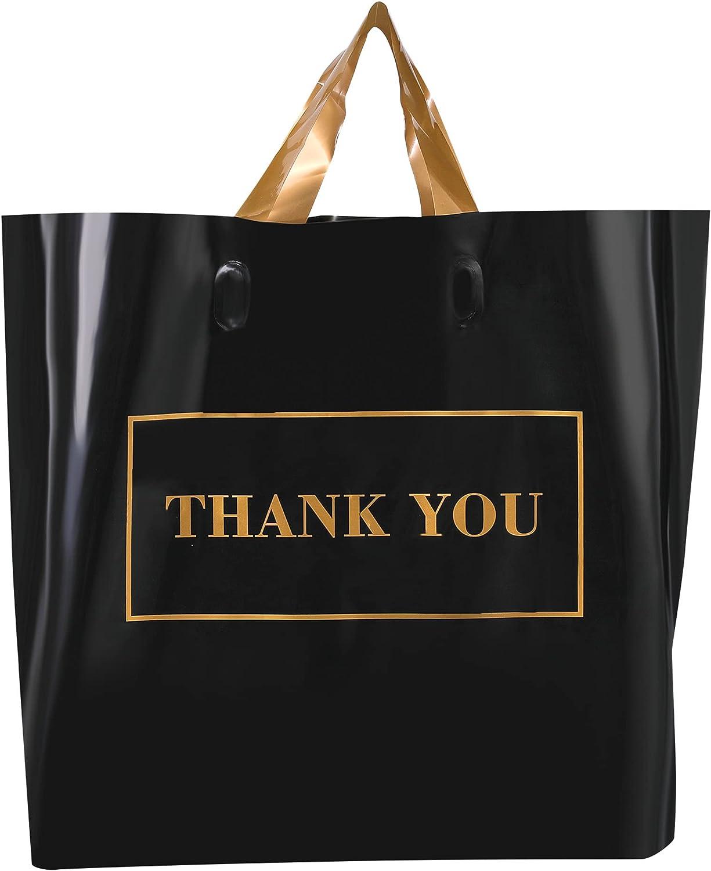 50 조각을 당신을 감사에는 선물 가방 12X15 소프트 루프를 처리 검은 비즈니스백 소매 쇼핑 가방 상품에 대한 부티크 두꺼운 2.36MIL 재사용할 수 있는 플라스틱 가방(금 텍스트)