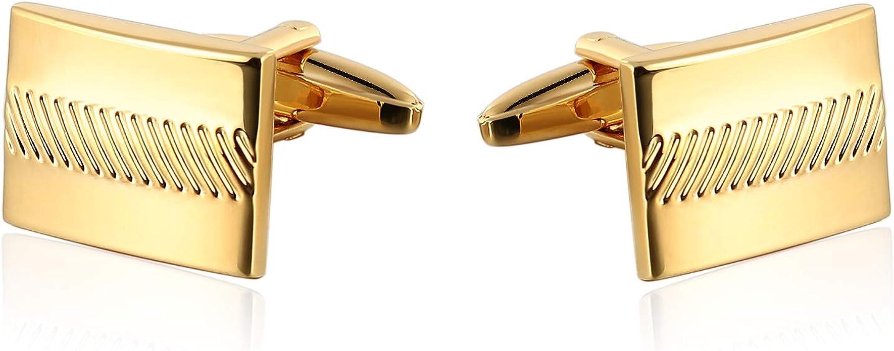 AnazoZ Gemelos Camisa Hombre Originales Gemelos Hombre Acero Gemelos Camisa Patrón Raya Rectangular Gemelos Camisa Oro: Amazon.es: Joyería