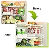IYOWEL Fridge Freezer Drawer Stackable Storage Boxes Bins Clear Under Shelf Drawer type storage and sorting rack, telescopic clapboard hanger