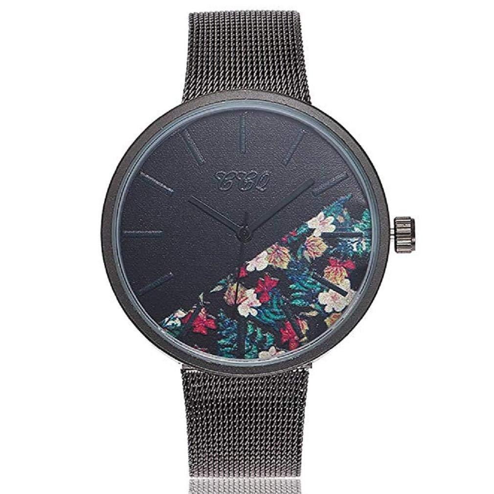 ef63cd3090f9 Reloj de Cuarzo para Mujer Flor de Moda Banda de Malla de Acero Inoxidable  Elegante Casual Relojes analógicos (B)  Amazon.es  Relojes