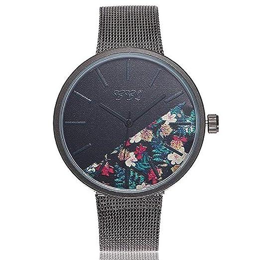 Reloj de Cuarzo para Mujer Flor de Moda Banda de Malla de Acero Inoxidable Elegante Casual Relojes analógicos (A): Amazon.es: Relojes