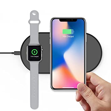 TATE GUARD Wireless Charger, Cargador Inalámbrico para Apple Watch iPhone 8 Plus X Samsung Galaxy Note Cargador Dock Pad, Compatible para Apple Watch ...