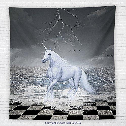 59 x 59 Inches Unicorn Home and Kids Decor Fleece Throw Blanket Digital Surreal Sea on Chessboard with Horse Pegasus Myth Print Blanket Grey White