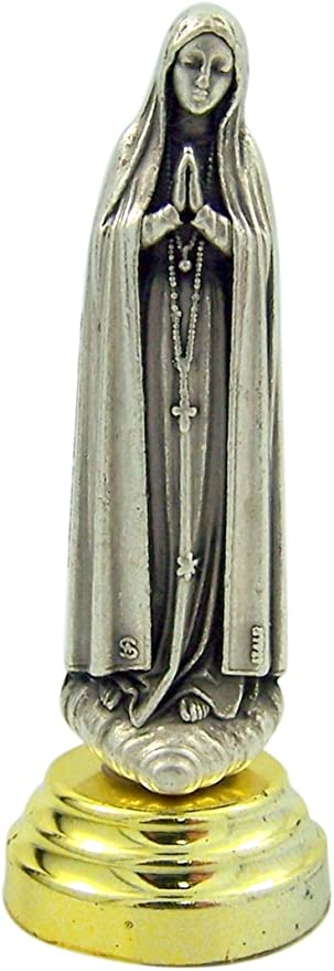 2 5//8 Inch Silver Toned Our Lady of Fatima Statuette Car Statue with Adhesive Base
