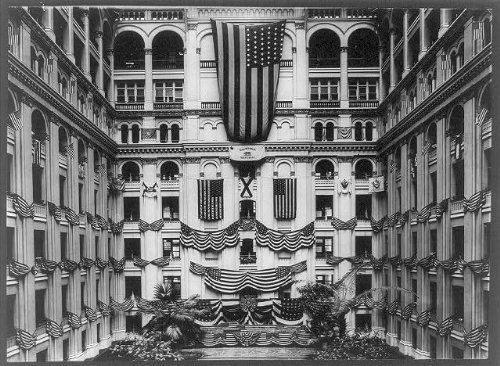 Photo: Old Post Office Building, Washington, D.C., c1920, Courtyard draped with flags . Size: 8x10 (