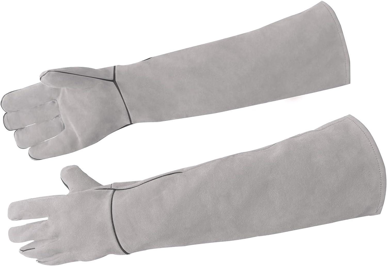 Weallbuy Multipurpose Pet Gloves for Biting,Long Sleeve Kevlar Gardening Gloves