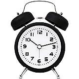 "TXL 3.5"" Twin Bell Alarm Clock Kids, Battery Operated with Nightlight, Handheld Sized, Non-Ticking Silent Metal Alarm Clocks"