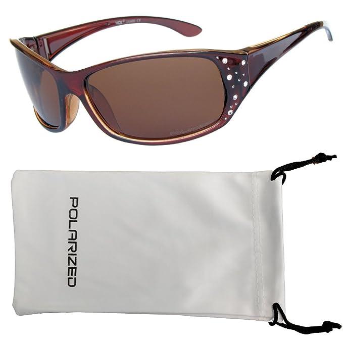 VOX Femenina Gafas de Sol Polarizadas Sport Diseñador Moda Diamantes de Imitación - Pastel marco rojo y negro - Lente de humo: Amazon.es: Ropa y accesorios