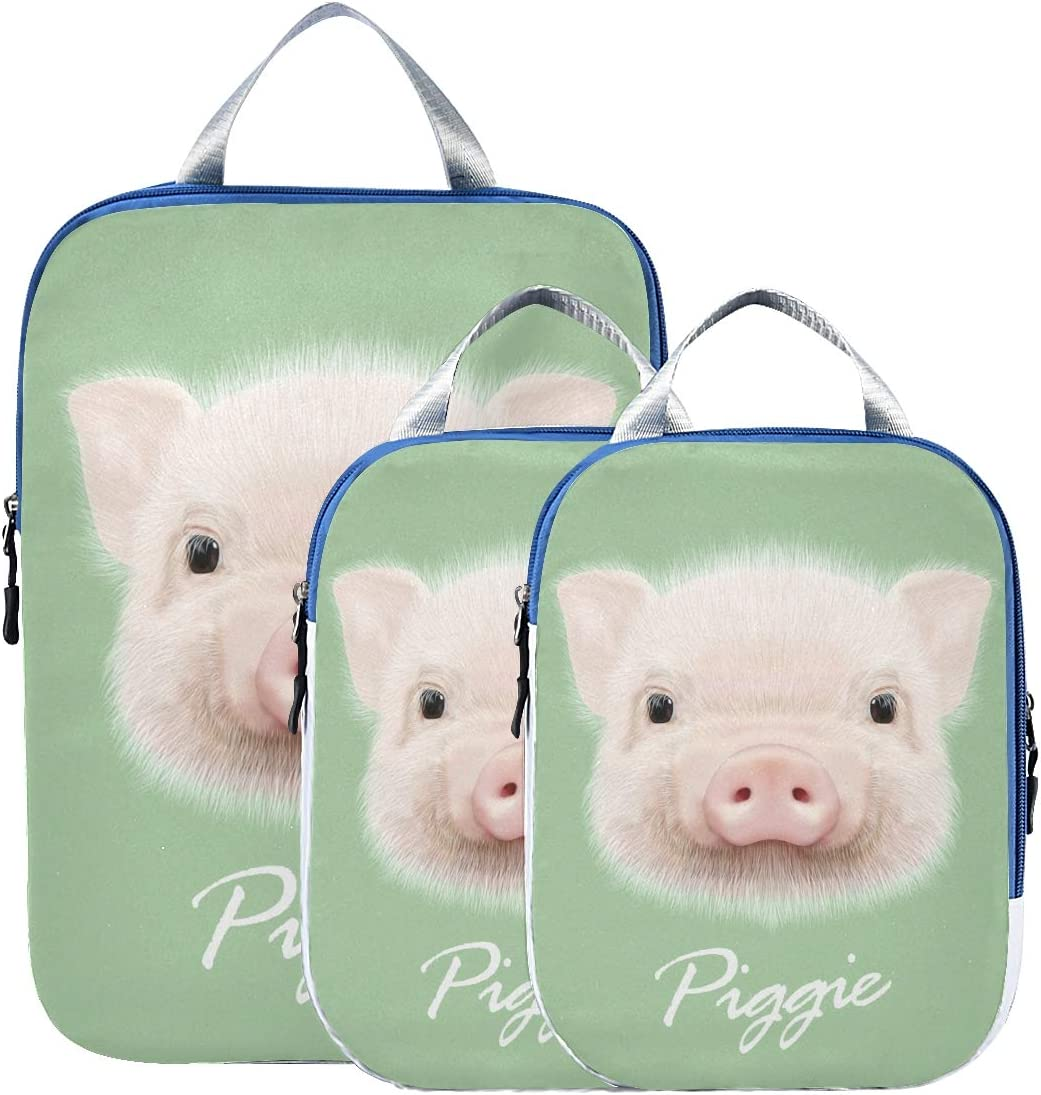 Cute Piggie 3 Set Packing Cubes,2 Various Sizes Travel Luggage Packing Organizers l