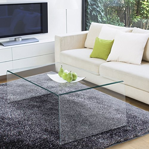 Cheap TANGKULA Glass Coffee Table Modern Home Office Furniture Clear Tempered Glass End Table International Occasion Tea Table Waterfall Table with Rounded Edges