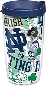 Tervis Notre Dame Fighting Irish All Over Tumbler with Wrap and Navy Lid 16oz, Clear
